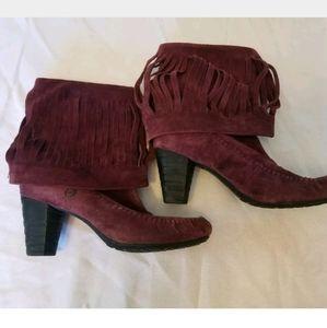 Born Banbury Purple Suede Fringe Heeled Boots 8.5